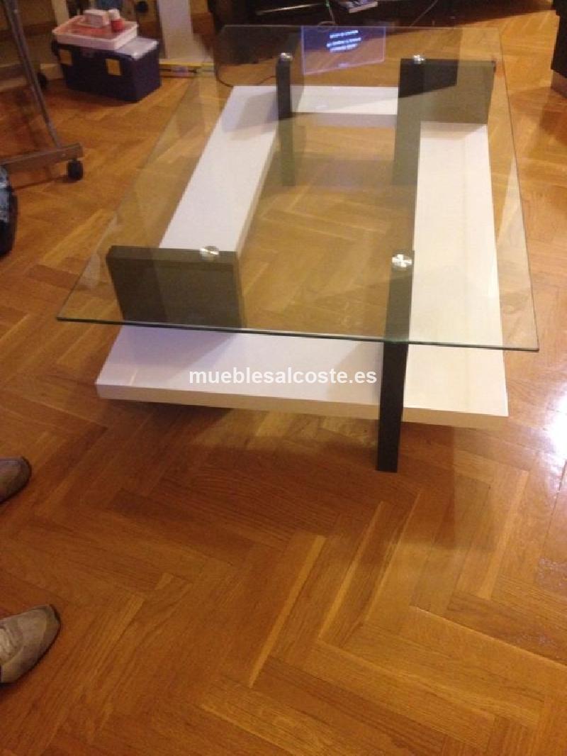 Mesa de centro en cristal y madera nueva cod 11621 segunda - Mesa centro segunda mano ...