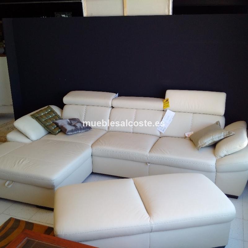 Sofa Cama Con Chaislongue Abatible Piel Natural Cod 21345