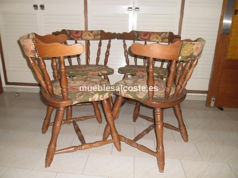 Sillas tapizadas estilo madera acabado madera cod 11644 segunda mano - Sillas provenzal tapizadas ...
