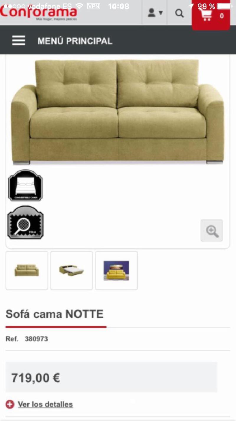Nuevo sof cama notte cod 21786 segunda mano for Precio sofa cama segunda mano