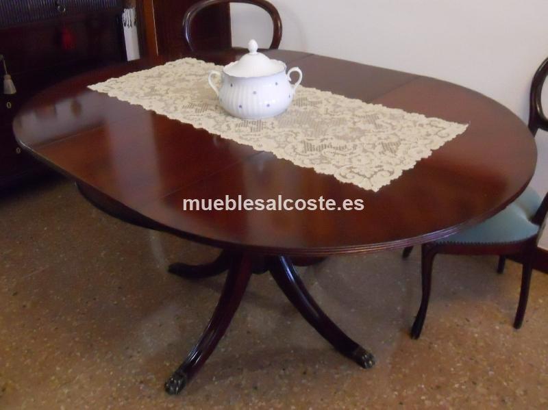 Conjunto mesa redonda extensible con 6 sillas cod 21826 segunda mano - Mesa redonda con sillas ...