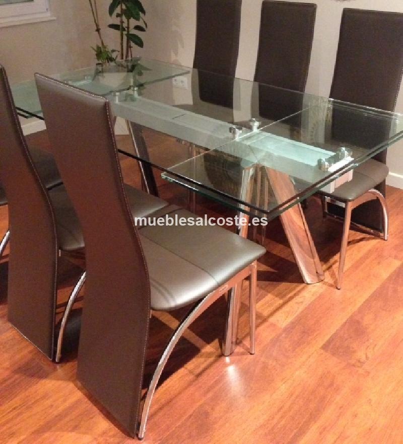 Mesa extensible metal y cristal y 6 sillas cod:11649 segunda mano ...