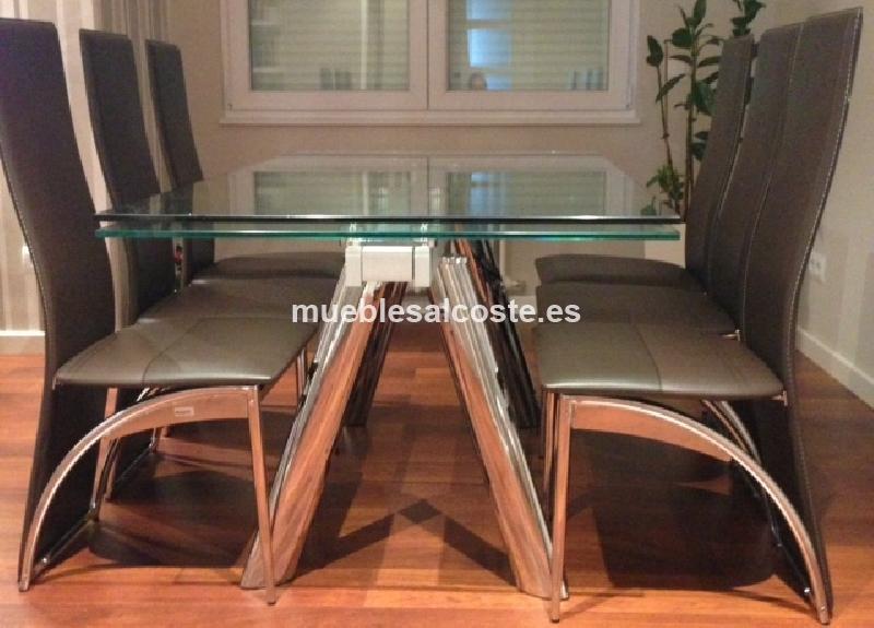mesa extensible metal y cristal cod 11648 segunda mano
