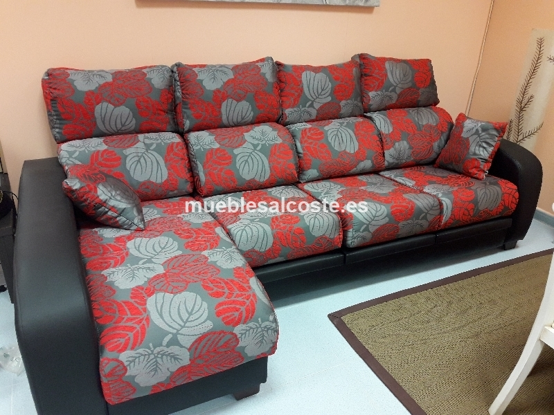 CHAISELONGUE ROJO Y GRIS