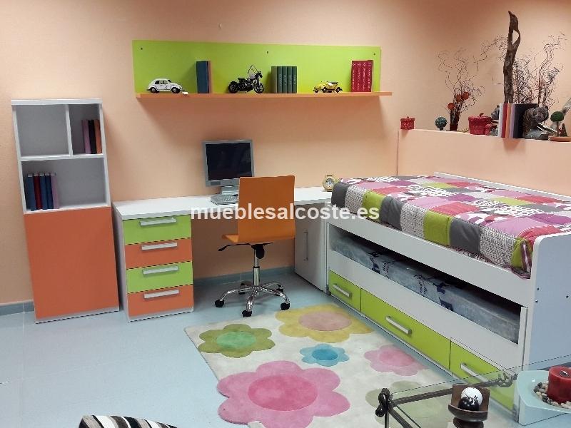 Dormitorio juvenil bicama verde y naranja cod 21967 segunda mano - Dormitorio segunda mano ...