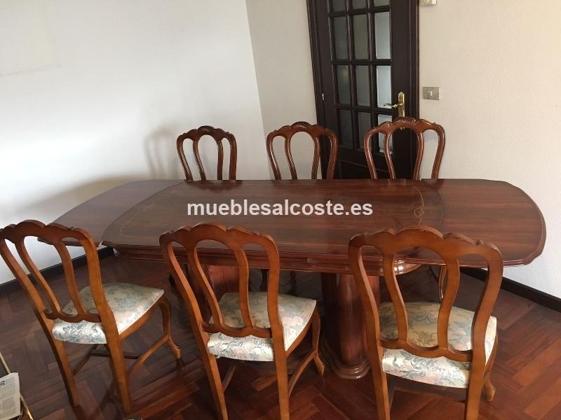 mesa saln nogal con 6 sillas - Sillas Y Mesas De Salon