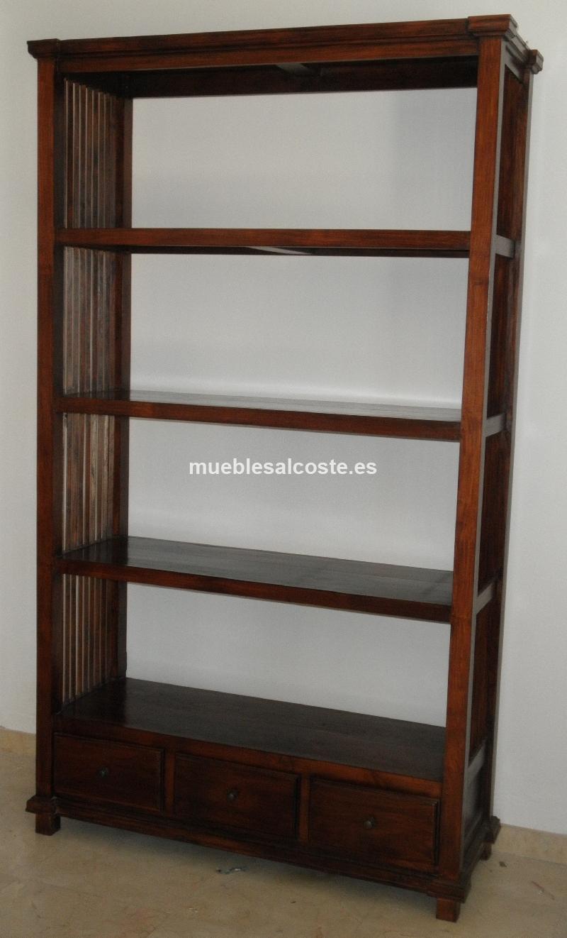 Estanteria de madera de teca maciza cod 11740 segunda mano - Estanterias en madera ...