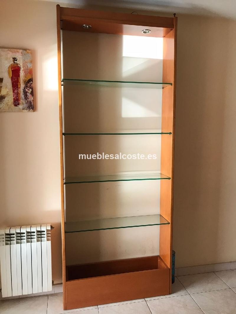 Estanteria en madera y cristal con luz cod 23501 segunda - Estanterias en madera ...