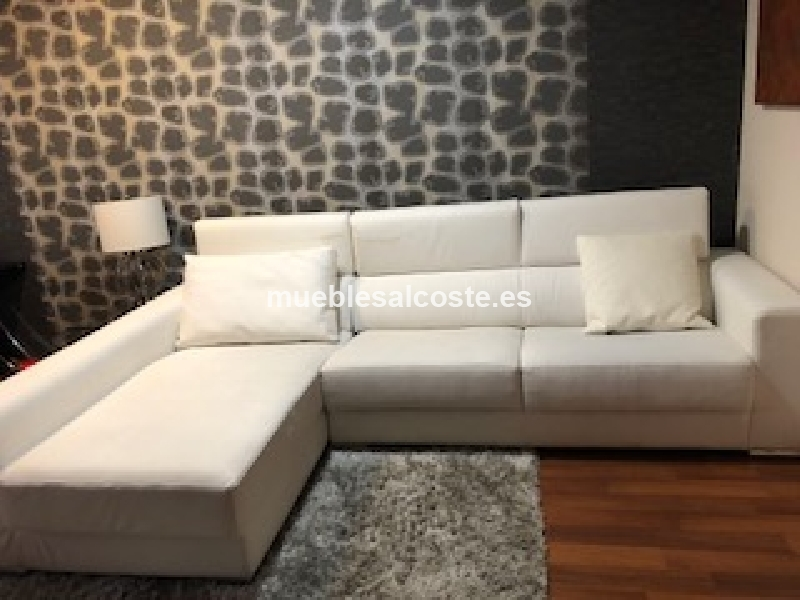 sofa chaiselongue blanco de polipiel