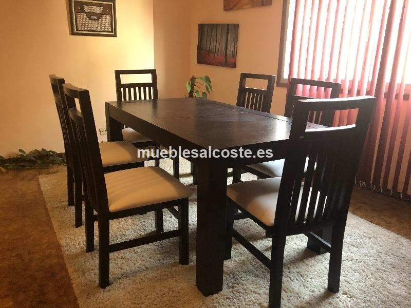 conjunto mesa comedor de roble mas sillas cod:24201 segunda mano ...