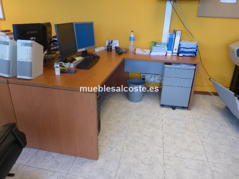 Escritorio oficina estilo moderno acabado chapa natural cod 12431 segunda mano - Escritorio oficina segunda mano ...