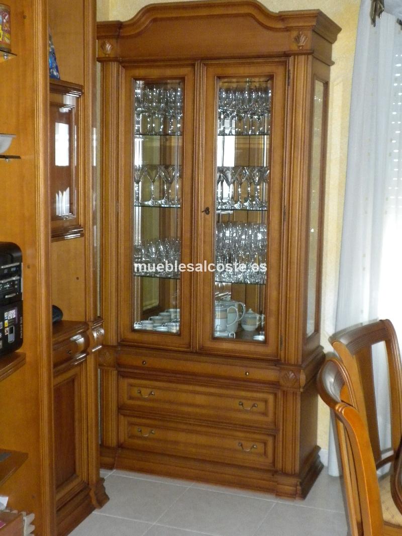 Vitrina madera estilo colonial acabado madera cod 12680 - Imagenes de vitrinas de madera ...