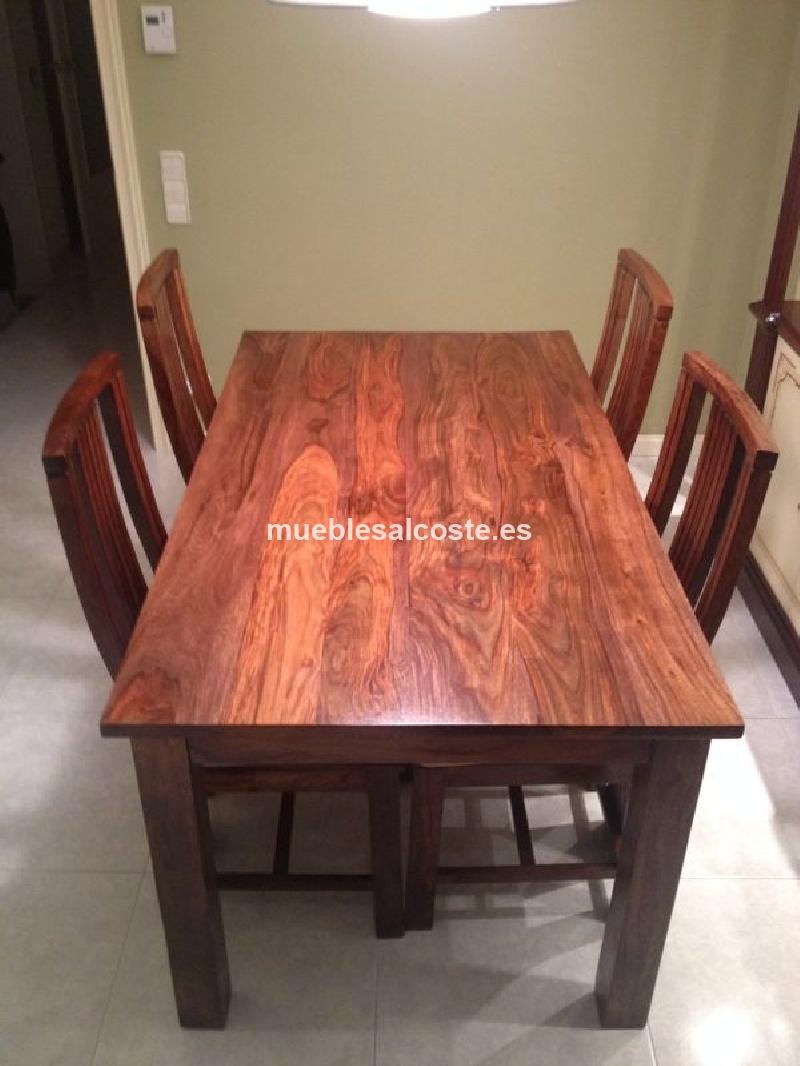 Mesa 4 sillas madera de palisandro cod 12685 segunda for Mesa manicura segunda mano