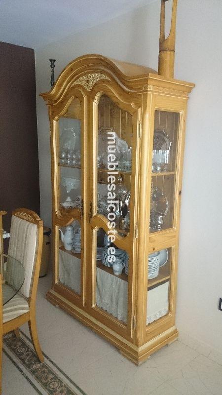 Vitrina de madera maciza decape y cristal cod 14598 - Vitrinas de cristal de segunda mano ...