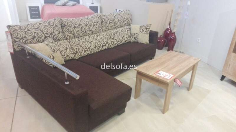 sofa chaisselongue tapizado marron